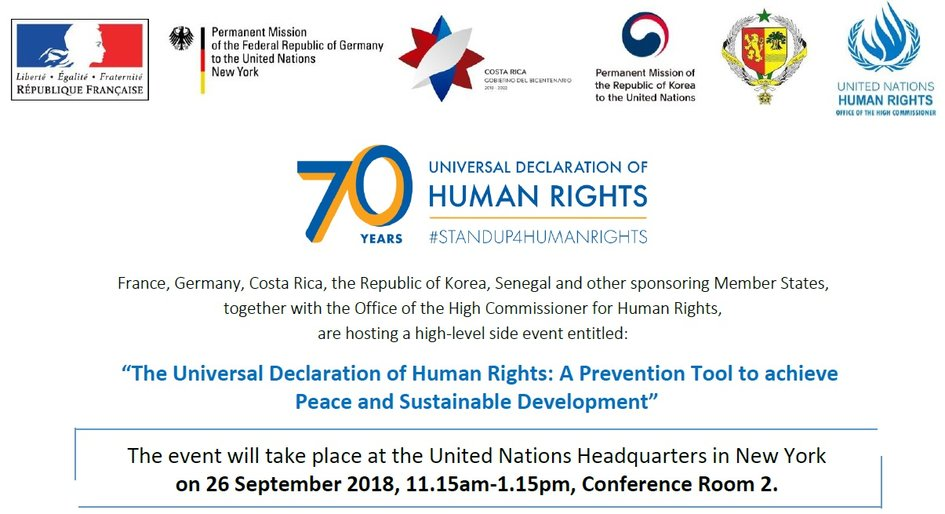 Invitation 70th Anniversary Of The Universal Declaration Of Human France Onu